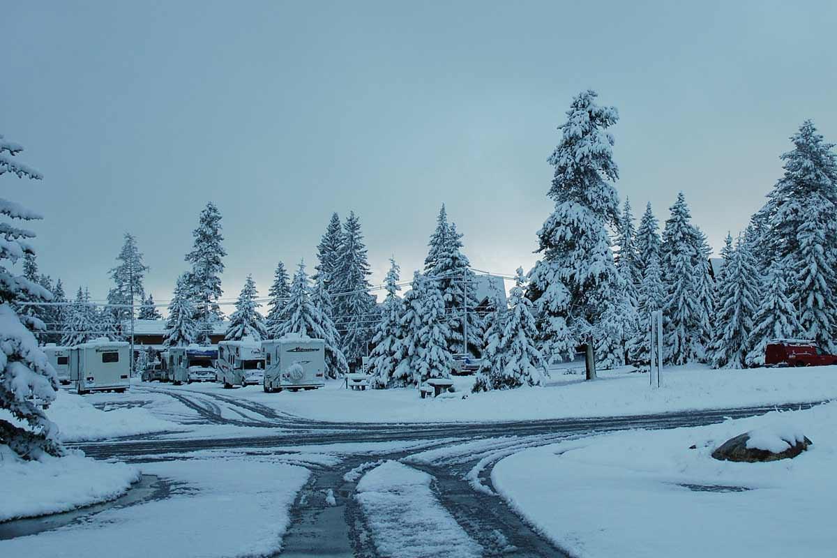 Schnee auf dem Tunnel Mountain Campground in Banff