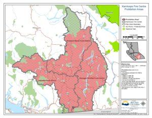 Karte: Campfire-Ban in der Gegend um Kamloops, British Columbia