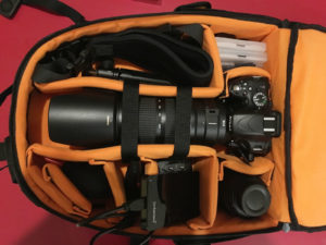 Kamerarucksack mit Zubehör