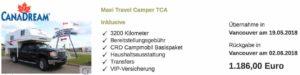 Angebotsberechnung Wohnmbilreise Kanada 2018, Truck Camper von CanaDream für 1186 Euro
