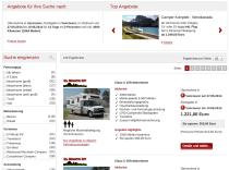 Wohnmobil-Preisvergleich, Trefferliste mit Vorschaufunktion