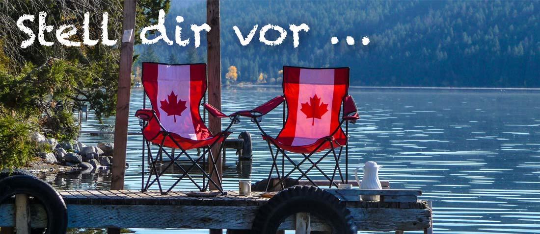 Stell dir vor … deine Wohnmobilreise in Kanada. Wohnmobil an der Nordküste von Nova Scotia, links ein Hügel, im Hintergrund der Atlantik